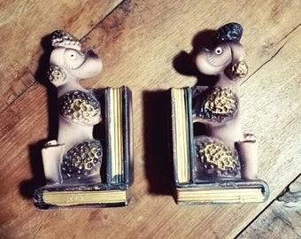 Vintage Poodle Ceramic Bookends, Made in Japan, Poodle Bookends, Dog Bookends, Japanese pottery, Japanese ceramic