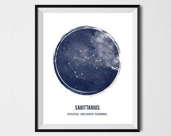 Sagittarius Print , Zodiac Print, Printable astrology, Zodiac Sign , Constellation, Zodiac Art, Astrology Print, watercolor, Geometric print