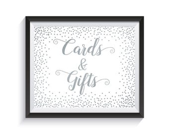 Cards & Gifts Sign, Silver confetti Gift Table Sign Printable, Wedding Reception, Bridal Shower, Baby Shower, Anniversary décor, Cards Gifts