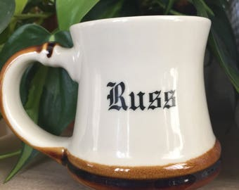Vintage Personalized Mug • Russ Name Mug • 1980's Mug • Russ Diner Mug