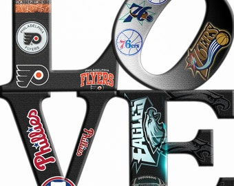 Philadelphia Sports Love Teams 1(12 x12) Canvas Art,Eagle,Phillies,Flyers,76ers.