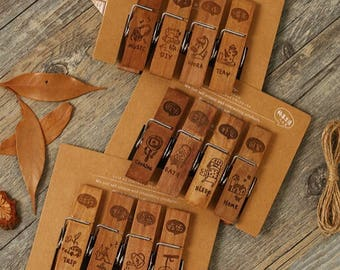 Wooden clips 4 piece set in vintage style with hemp rope