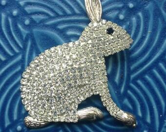 vintage brooch, rhinestone rabbit, Easter brooch, rhinestone brooch