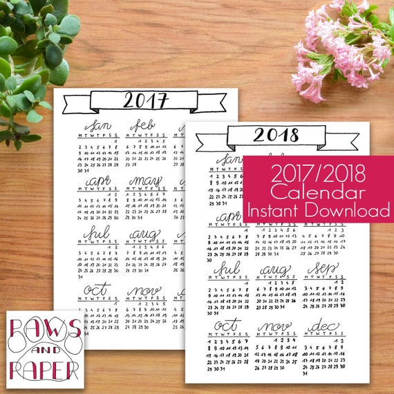 Calendar Bullet Journal 2018 : Bullet journal kit  year at a glance calendar