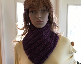 Textured Rich Purple Colored Cowl/Scarf
