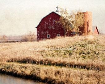 Rural America. Red Barn In The Fall.  Iowa.