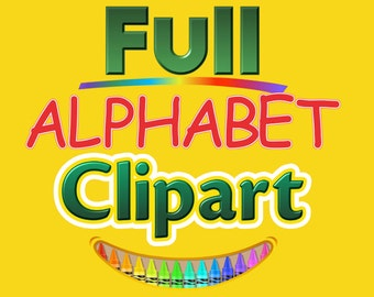 Crayons - Alphabet Clipart - 6 Full Alphabets - 195 png files 300 dpi