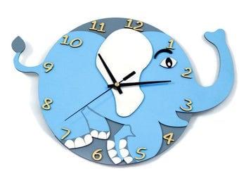 Kids clock, Elephant clock, Kids room decor, Laser cut clock, Fun clock