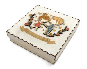 Wooden best-wishes wedding box for small gifts 'COUPLE'- Fabryka Gadżetów - Wedding gifts ideas