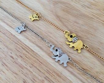 Mom Baby Elephants, Family Necklace, Elephant Necklace, Gold Elephant, Silver Elephant, Baby Elephant Charm, Mom Elephant Charm