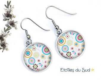 70 years, resin cabochon, surgical steel hooks, ref.41 geometry earrings