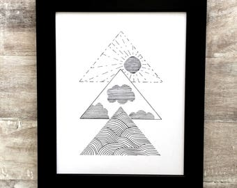 Modern monochrome beach drawing, geometric triangle art, waves clouds and sun abstract art, minimalist nature print