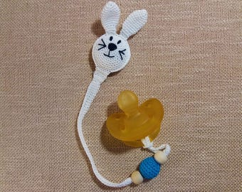 White bunny shooter holder(rabbit shooter holder) with blue parts. Boy pacifier clip / binky holder, excellent for baby shower!