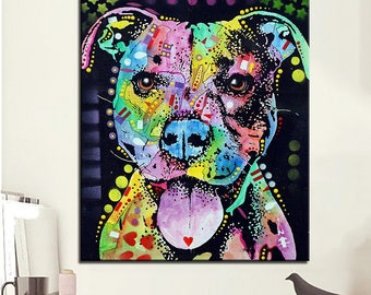 Pit Bull Canvas Painting- Pitbull Painting - Pit bull Art FREE Shipping