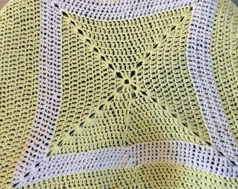 Handmade Crochet yellow and white granny square blanket