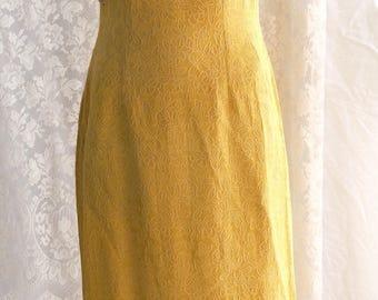 Classic 1960s, maxi length, sheath dress ,beading,lined,deep yellow,small /medium size,handmade,evening