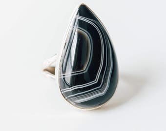 Botswana Agate • solid sterling SILVER • Ring • Size 7