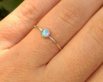 opal ring, Blue opal ring, Blue opal, Silver blue opal ring, Silver stacking ring, opal Tiny ring, opal silver jewelry, silver opal ring