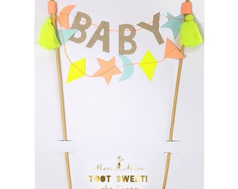 Baby Cake Topper Neautral for Shower Christening Peach Gold Pastel Blue Yellow Tassel