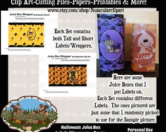 Juice Box Wrappers - Halloween Bears Juice Boxes - Juice Box Labels - Halloween party supplies -