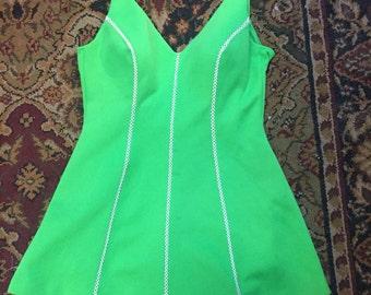 Pretty 1960s lime green bathing beauty