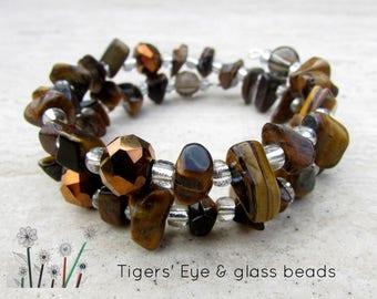 Gemstone Bracelet, Tigers Eye and Glass Beads, Adjustable Memory Wire Wrap Bracelet, Womens Jewellery Gift, Silver Plated, Ladies Wrist Wrap