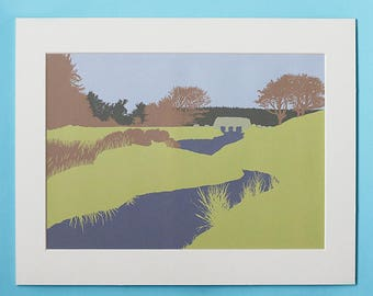Bridge print - Dartmoor print - Devon landscape - Dartmoor trees - Devon gift - Dartmoor gift - Wall art - Graphic art - Eco friendly