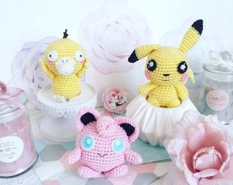 Pokemon Pikachu et Rondoudou Psykokwak crochet amigurumi peluche