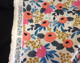 Cotton Steel Fabric in Les Fleurs