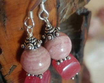Rhodochrosite and Pink Glass Earrings