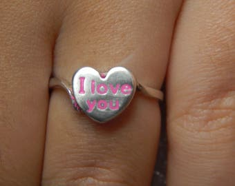 Ladies I LOVE YOU Ring 925 silver with pink enamel