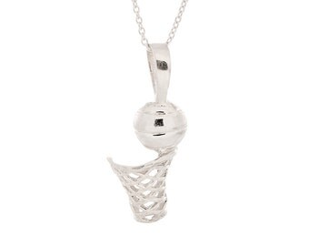"""925 Sterling Silver Basketball Pendant w/ 18"""" Cable Chain Necklace"""