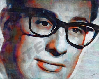 Buddy Holly Art Print - Rock And Roll Oil Painting Poster  LFF0022
