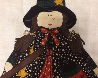Halloween Fabric panel/Willa the Witch/ fabric panel/halloween decoration/stuffed witch/kids decor/home decor/character panel/