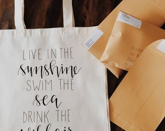 Inspirational Quote bag! Inspirational gift! Graduation gift, Live in the sunshine, swim the sea, drink the wild air tote bag! Emerson Quote