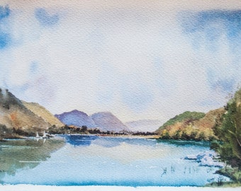 St Mary's Loch, Scottish Borders, Scotland. Scottish landscape painting original watercolour fine art print lake mountains lake sailing