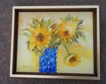 Sunny Flowers in Blue Vase
