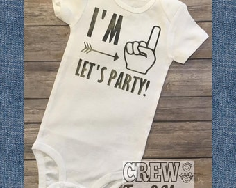 I'm 1 Let's Party, First Birthday, 1st Birthday Onesie, Baby's 1st birthday, Cute Bodysuit, One Year Old Smash Cake Outfit!