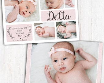 Photo Birth Announcement | Baby Birth Announcement | A6 | Double Sided | Card stock 350gsm | Girl | Printed Announcement | Multiple photos