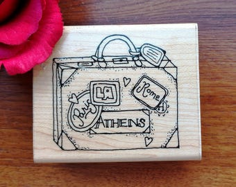The Traveler Rubber Stamp N267 by JRL Design, Suitcase, Luggage Stamps, Vacation