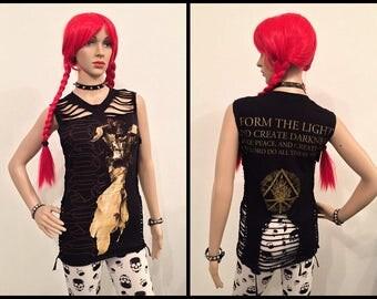 Behemoth - Angel vest top Handmade Custom Slashed shredded braided ripped