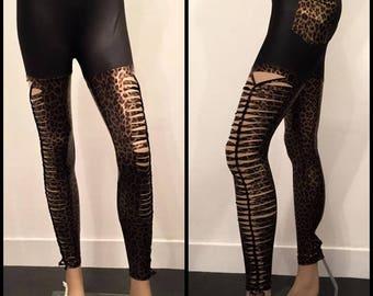 Shredded And Braided Faux Leather Handmade Leggings leopard Slashed Metal Punk