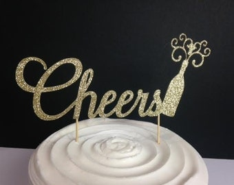 Cheers CakeTopper-Sparkling Gold or Silver Glitter, Perfect for your special event: Engagement, Wedding, Bridal Shower, Birthday, Retirement