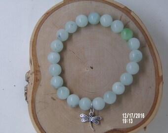 B1264 Small Milk Glass stone  Bracelet with Dragon Fly metal Charm.
