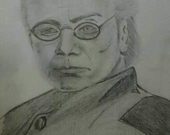 Commander Adama from Battlestar Galactica - A4 graphite pencil drawing
