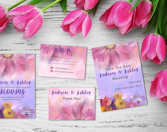 Custom Water Color Wedding Printable Suite, RSVP, Thank You, Wedding Invite, Pink, Blue Flowers