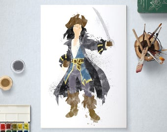 Pirate, Captain, Watercolour Art, Printable Instant Download