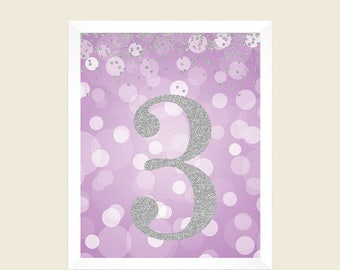 Birthday Print, 3rd Birthday Party Sign, Number 3, 3rd Birthday Party, Third Birthday, Lavender Silver Glitter, Printable Party Decorations