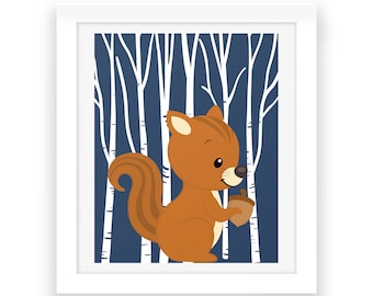 Woodland Squirrel Wall Decor - Squirrel Print - Printable Art - Baby Nursery Decor - Baby Print - Instant Download - Baby Nursery Wall Art