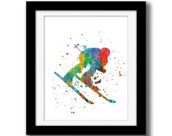 SALE - Rainbow Watercolor Download - Skier Wall Art Download - Skiing Wall Decor - Skier Print - Watercolor Paint Splatter Art Winter sport